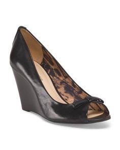 Leather Peep Toe Wedges - Departments - T.J.Maxx