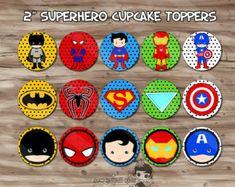 Super Cupcake Toppers superhéroe suministros por KawaiiKidsDesign