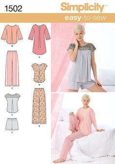 Misses' Easy-to-Sew pattern includes pants & shorts with elastic waist, nightshirt & top. Nightshirt & top have a single pleat vent down the front. Add decorative ribbon, buttons and lace for a feminine touch.Fabrics:   Flannel, Gingham, Laundered Cottons, Batiks, Calico, Chambray, Seersucker, Crepe De Chine, Sueded Silks/Rayons, Voile, Double Georgette, Jerseys, Handkerchief Linen.