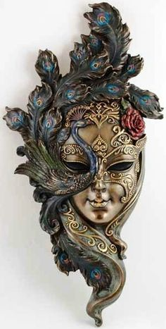 Venetian Carnival Mask -- dull gold with dark peacock. Venetian Carnival Masks, Carnival Of Venice, Venetian Masquerade, Masquerade Masks, Vintage Carnival, Costume Venitien, Venice Mask, Masks Art, Beautiful Mask