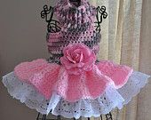 Items similar to Dog Sweater Dress Handmade Crochet Girly Dog with Flower and Eyelet Custom Made to Order on Etsy