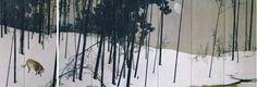 "Oukoku's work, ""Kangetsu"" will be displayed from Oct 2013 in Sen-Oku Hakukokan, Kyoto Plant Painting, Ink Painting, Japanese Painting, Chinese Painting, Winter Moon, Just Ink, China, Japan Art, Painted Doors"