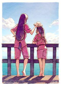 Art Studio Ghibli, Studio Ghibli Movies, Totoro, Poster Graphics, Wallpaper Animé, Chihiro Y Haku, Illustrations Vintage, Poster Art, Film Poster