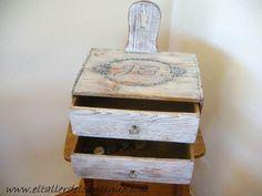 Azul Vintage, Color Nogal, Shabby, Floating Nightstand, Furniture, Home Decor, Wood Veneer, Wooden Tables, Steel