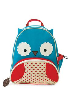 This is SO cute. It gives the child the feeling of having a special, whimsical backpack, yet it's not a 'traditional' cartoon character, which I really, really hate. Skip/Hop makes such great bags, with amazing functionality, like extra pockets, pencil bags, things like that.  Skip/Hop children's backpack  shop.nordstrom.com