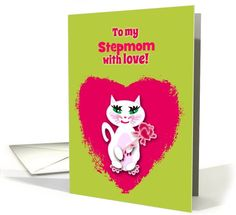 Custom Personalized Stepmom Mother's Day Catwith Rose card