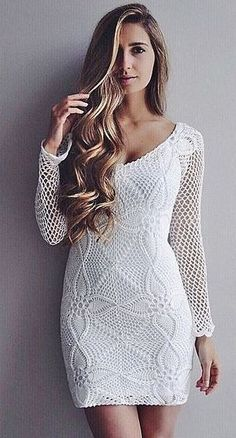 Catherine Belle shows Handmade crochet long sleeve dress WHITE by Emma Ostergren