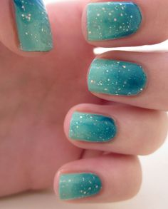 Ocean blue and green gradient nails with sparkle!