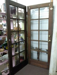 SOLD - We have a set of vintage wooden french doors hinged together. These doors are each 32 inches wide and 80 inches tall. ***** In Booth A6 at Main Street Antique Mall 7260 E Main St (east of Power RD on MAIN STREET) Mesa Az 85207 **** Open 7 days a week 10:00AM-5:30PM **** Call for more information 480 924 1122 **** We Accept cash, debit, VISA, Mastercard, Discover or American Express