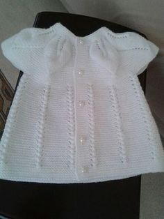 We will be glad when you knitting and share with us. Baby Cardigan, Knit Baby Dress, Baby Pullover, Baby Vest, Baby Hats Knitting, Knitting For Kids, Lace Knitting, Easy Knitting Patterns, Baby Patterns