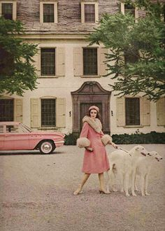 Pink wool and mohair coat trimmed in pale badger by Anne Fogarty. Photo by Francesco Scavullo c. 1961(via)