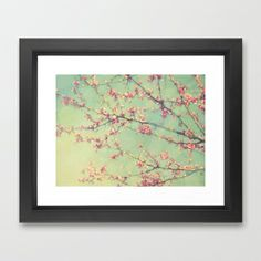 Dreamy Abstract Spring Flowering Branches Pink and Mint Green  Framed Art Print by V. Sanderson / Chickens in the Trees - $42.00