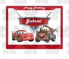 CARS BIRTHDAY ~ Disney Cars Inspired with Mater and Lightning McQueen Personalized License Plate Design ~ Printable For Your Birthday Party!...