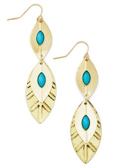 Behold the Breeze Earrings. A bold breeze makes you stop and enjoy the moment - the twinkling sound of distant wind chimes and the beauty of these dangling gold-and-turquoise earrings! #blue #modcloth