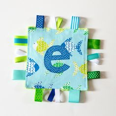 .: Little Fishy Personalized Baby Crinkle Square Sensory Toy