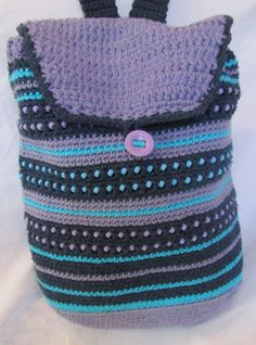 Beaded Crochet Backpack, Adjustable Strap and Cotton Lined, Indigo Lavender Turquoise, Cotton