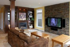 Entertainment Wall Units With Fireplace Design, Pictures, Remodel, Decor and Ideas - page 6 Wall Units With Fireplace, Wood Fireplace Surrounds, Family Room Fireplace, Fireplace Design, Tiled Fireplace, Diy Tv Wall Mount, Wall Mounted Tv, Stone Veneer Panels, Accent Wall Colors
