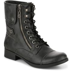 Combat Boots Lace-Up Boots (67,885 KRW) ❤ liked on Polyvore featuring shoes, boots, ankle booties, military boots, army boots, lacing combat boots, lace up boots and laced booties