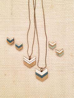 Wood Veneer Chevron Jewelry   fromnorthtosouthblog.com