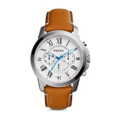 Fossil Grant Chronograph Leather Watch – Light Brown
