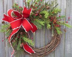 Holiday Wreath / Christmas Wreath / Rustic Grapevine Christmas Wreath / Natural Rustic Christmas Decor / Horn