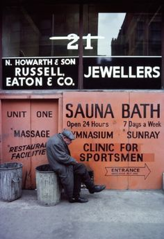 An elderly man sits on a dustbin outside a sauna and gymnasium in Manchester, from the exhibition The North by John Bulmer at Hull Central Library Great Photos, Old Photos, Vintage Photos, Fine Art Photography, Street Photography, Narrative Photography, Water Photography, Abstract Photography, Northern England