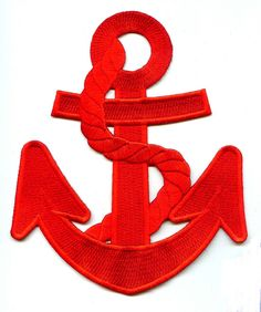 """Anchor - Red W/Red Rope - Nautical Embroidered Iron On Applique Patch - 5 7/8""""H 