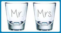 Mr. and Mrs. 2oz. Shot Glass Set of , pick your font - Wedding favors (*Amazon Partner-Link)