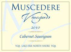 Muscedere Vineyards wine label. Lake Erie, Wine Label, Cabernet Sauvignon, North Shore, Wine Cellar, Vineyard, Food, Riddling Rack, Meal