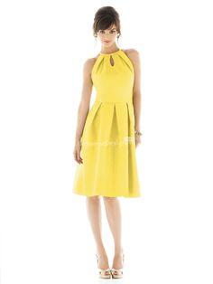 beautiful yellow knee length halter keyhole neck sleeveless pleated bridesmaid dress