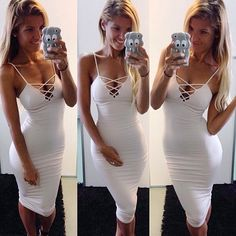 White tie up front dress