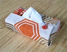 Clever Tissue Box Cover.. A simple Diy to pretty up tissue boxes! http://laracameron.com/index.php?p=tutorials  for a tutorial on how to make this box.. Just scroll down a bit to find the instructions