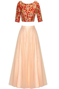 Red lace work firework embroidered lehenga set available only at Pernia's Pop Up Shop.