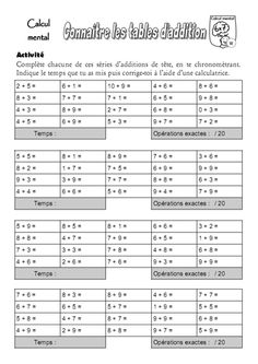 12 meilleures images du tableau Tables d'addition Mental
