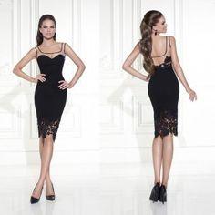 vestidos negros con encaje 2016