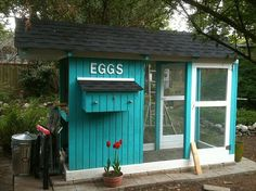 chicken coop ~ love the color! I also like the flooring around the coop, make it tricky for pests to get in :)