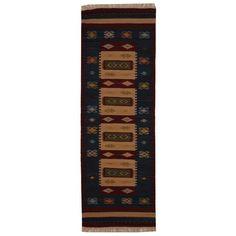 Indo Hand-woven Turkish Kilim Ivory/ Red Wool Rug (2'6 x 8')