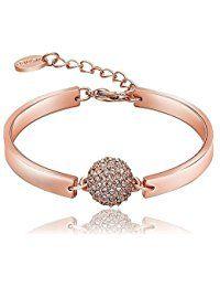 Yidarton Bracelet Femme 18K Plaque Or Rose Bijoux Reglable forme arrondie Zirconium avec Cristal Bracelet Charms