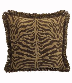 This brown, tiger chenille square accent pillow is sized large, perfect for the sofa