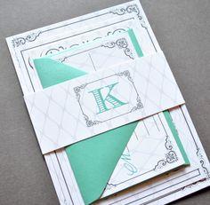 Tiffany Blue Wedding Invitations Monogram by WhimsyBDesigns