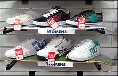 A Sporting Goods specialty store gained extra sales space and cross sell ability by inverting skateboards and using them as… Retail Shelving, Shoe Shelves, Longboarding, Skateboards, Visual Merchandising, Outdoor Activities, More Fun, Air Jordans, Adidas Sneakers