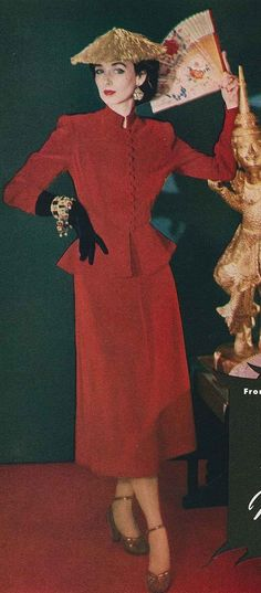 1958 vintage fashion style late 50s red suit dress peplum button front long sleeves straight skirt color photo print tad model magazine Asian straw hat gloves jewelry earrings bracelet