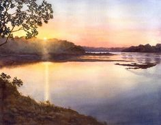 River Sunset, landscape print of original watercolor painting $20