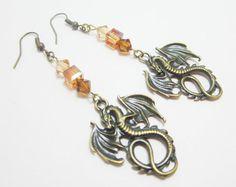 Medieval Dragon Fantasy Earrings Bronze Goth by WhispySnowAngel