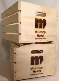 Crates branded with your logo or business name... Custom rustic retail stackable crates. JBrothersandCompany.com