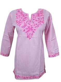 Pink Boho Blouse Tops Floral Embroidered Cotton Yoga Tunic Indian Kurta S Mogul Interior http://www.amazon.com/dp/B00V05GJEK/ref=cm_sw_r_pi_dp_9evdvb0RY50A8