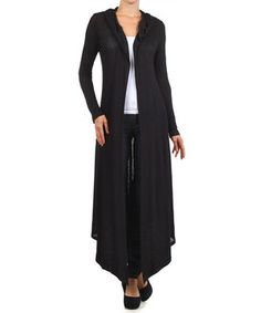 Loving this Pretty Young Thing Black Hooded Long-Sleeve Open Cardigan on #zulily! #zulilyfinds