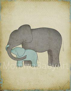 8x10 Baby Elephant Hugging Mom Dad Nursery Wall by MommaBabyArt, $35.00