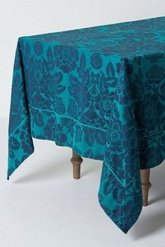 ANTHROPOLOGIE-Magnolia-Tablecloth-Sapphire-Blue-Table-Cloth-Cover-72-x-120-NEW navy turqoise soft cotton beautiful floral flowers