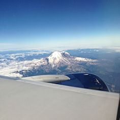 Flying over Mt. Rainier on our descent into Seattle - love this city!